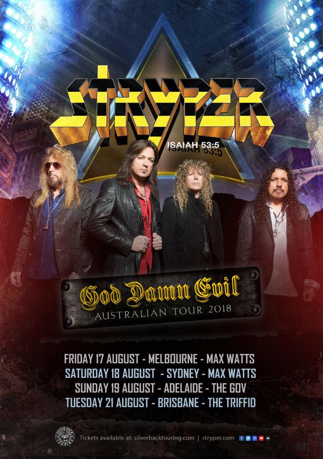 STRYPER - God Damn Evil Poster - Silverback Touring - The Gov - The Clothesline