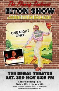 The Elton John Show - Sat 3 Nov Poster sm - Flaming Sambucas - KMPR - The Clothesline