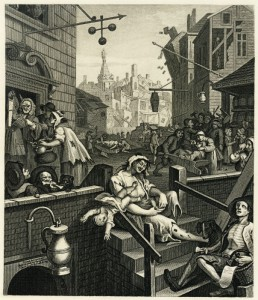 William Hogarth's Gin Lane (1751) - From Beer St and Gin Lane - Mothers Ruin - ACF - The Clothesline